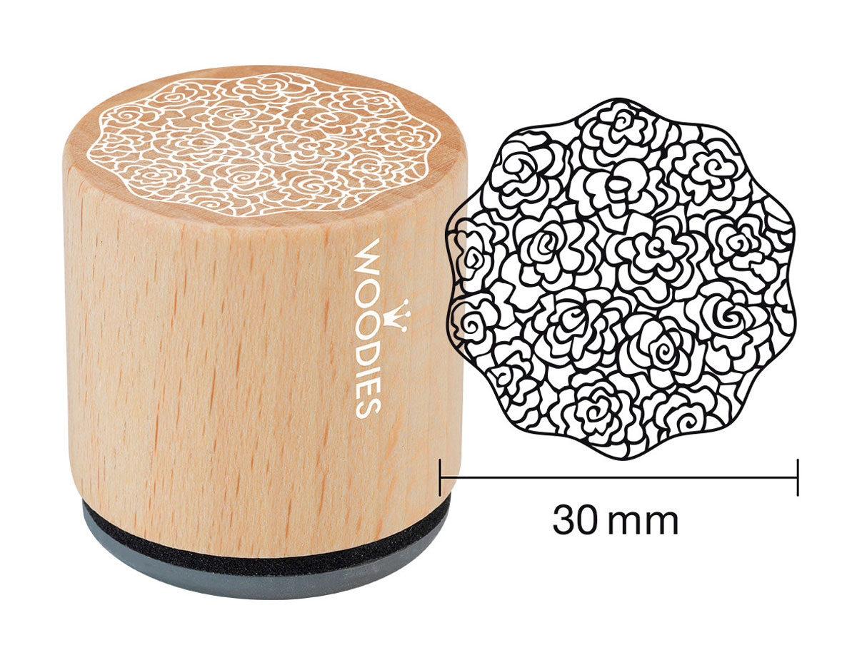 W18007 Sello de madera y caucho adorno diam 33x30mm Woodies