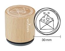 W19002 Sello de madera y caucho sobre con corazones diam 33x30mm Woodies