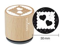 W19003 Sello de madera y caucho corazones diam 33x30mm Woodies