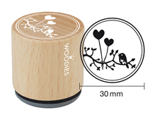 W19007 Sello de madera y caucho globos corazones diam 33x30mm Woodies