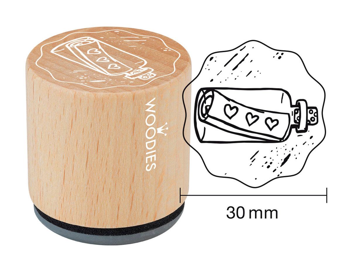 W19008 Sello de madera y caucho mensaje en una botella diam 33x30mm Woodies
