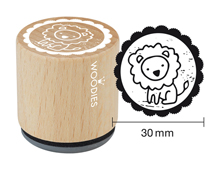 W20001 Sello de madera y caucho leon diam 33x30mm Woodies