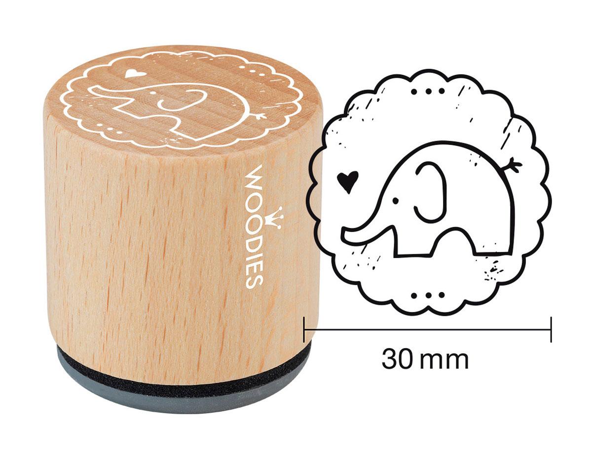 W20003 Sello de madera y caucho elefante diam 33x30mm Woodies