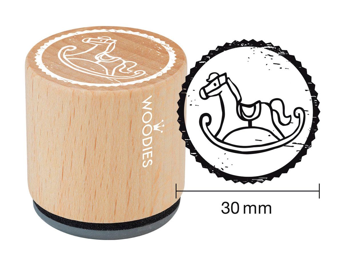 W20006 Sello de madera y caucho caballito balancin diam 33x30mm Woodies