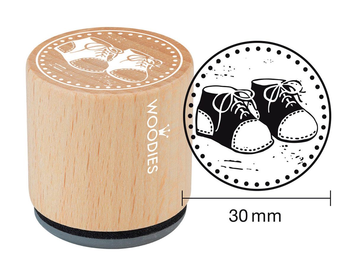 W20007 Sello de madera y caucho zapatitos diam 33x30mm Woodies