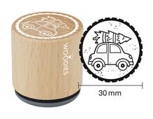 W21001 Sello de madera y caucho coche con abeto diam 33x30mm Woodies