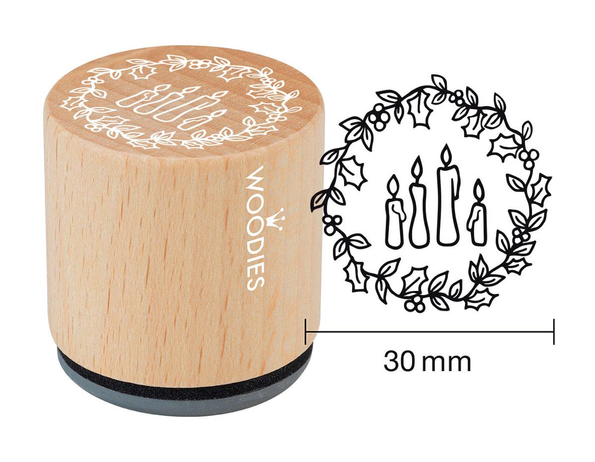 W21004 Sello de madera y caucho 4 velas diam 33x30mm Woodies