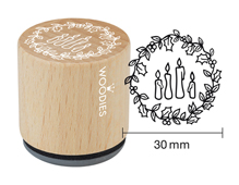 W21004 Sello de madera y caucho 4 velas diam 33x30mm Woodies