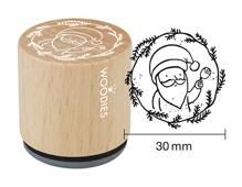 W21006 Sello de madera y caucho Santa Claus diam 33x30mm Woodies
