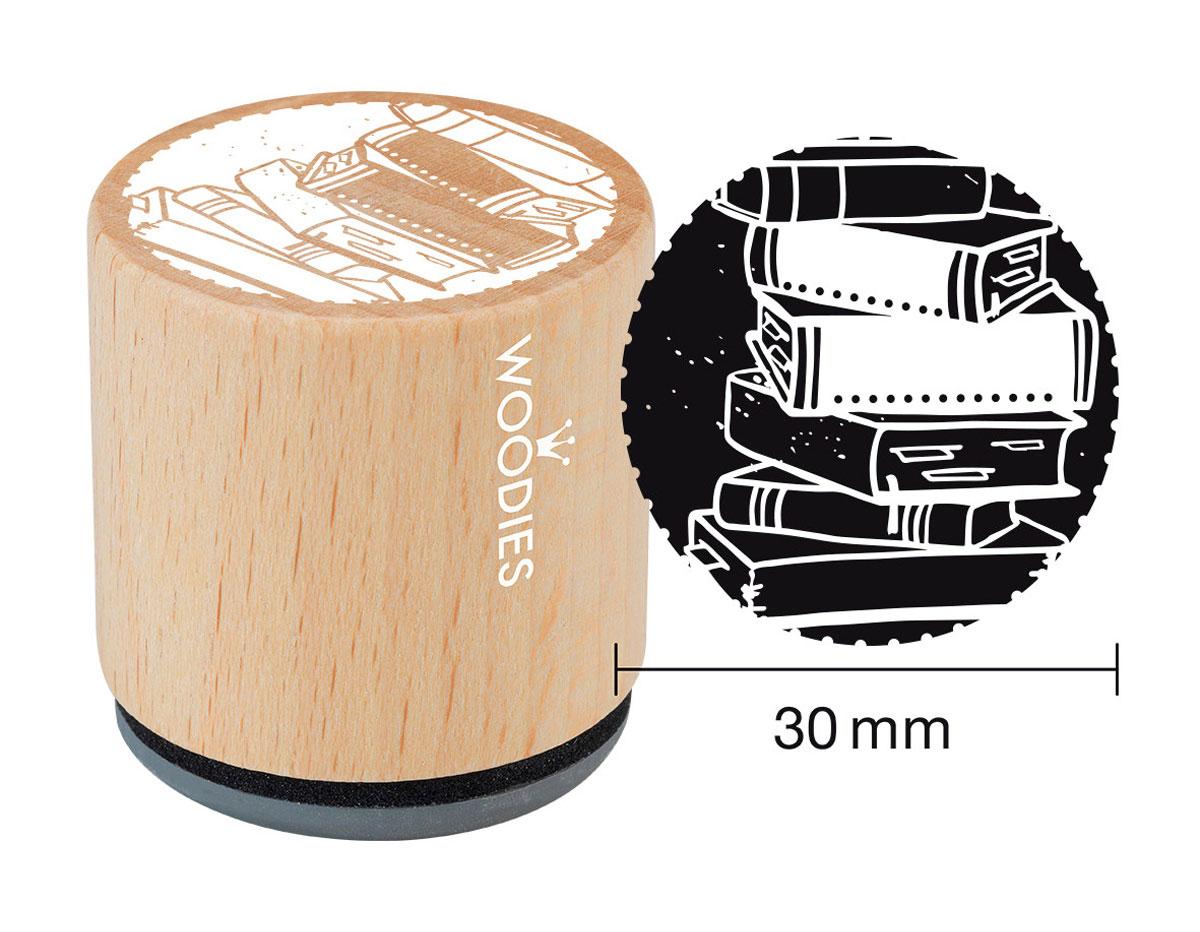 W22001 Sello de madera y caucho libros diam 33x30mm Woodies