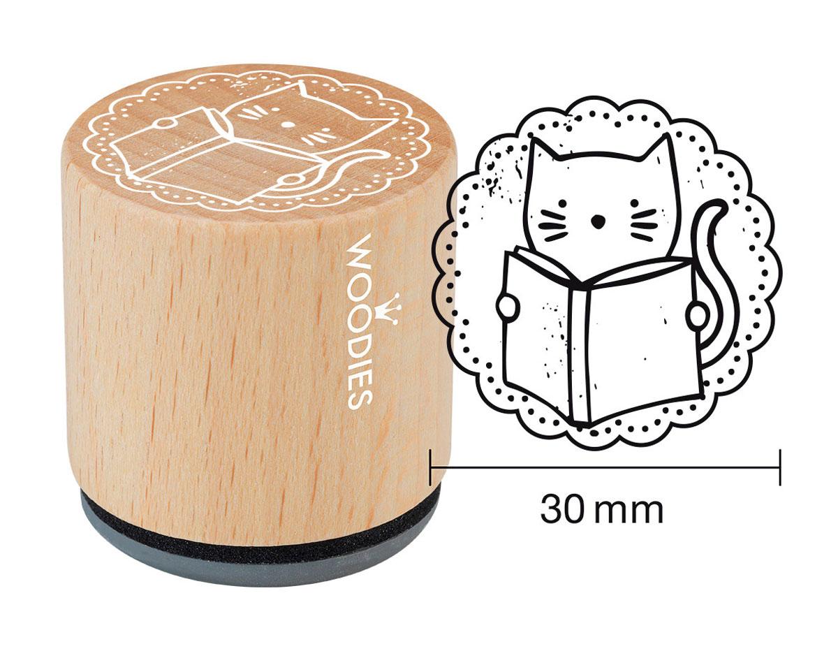 W22004 Sello de madera y caucho gato leyendo diam 33x30mm Woodies