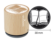 W22005 Sello de madera y caucho libro abierto diam 33x30mm Woodies
