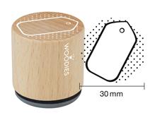 W22006 Sello de madera y caucho etiqueta diam 33x30mm Woodies