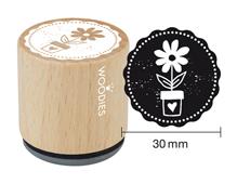 W23001 Sello de madera y caucho maceta flor diam 33x30mm Woodies