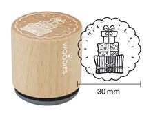 W23002 Sello de madera y caucho regalos diam 33x30mm Woodies