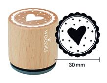 W23003 Sello de madera y caucho corazon puntos diam 33x30mm Woodies