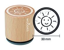 W23005 Sello de madera y caucho sol diam 33x30mm Woodies