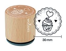 W23006 Sello de madera y caucho madalena diam 33x30mm Woodies