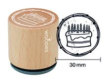 W23007 Sello de madera y caucho tarta diam 33x30mm Woodies