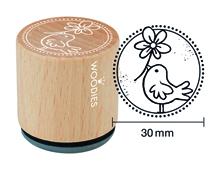W23008 Sello de madera y caucho pajaro diam 33x30mm Woodies