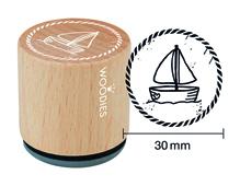 W25001 Sello de madera y caucho velero diam 33x30mm Woodies