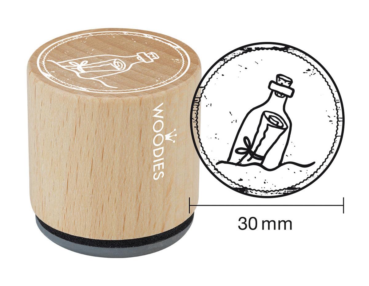 W25002 Sello de madera y caucho botella en el mar diam 33x30mm Woodies