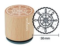 W25003 Sello de madera y caucho timon diam 33x30mm Woodies