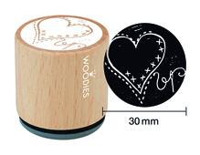 W26001 Sello de madera y caucho corazon diam 33x30mm Woodies