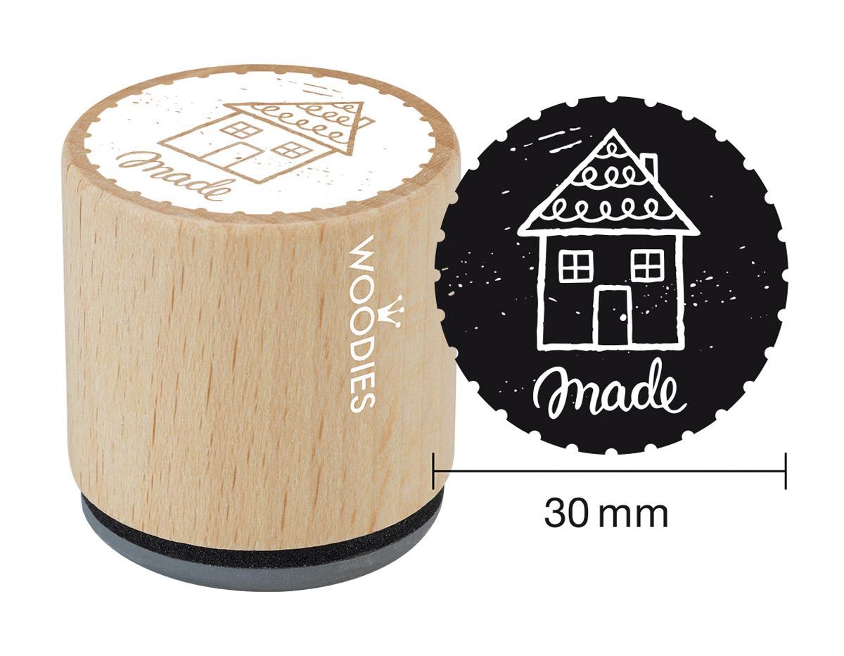 W26002 Sello de madera y caucho casa diam 33x30mm Woodies
