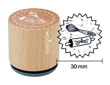 W26003 Sello de madera y caucho batidora y rodillo diam 33x30mm Woodies