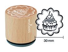 W26007 Sello de madera y caucho cupcake diam 33x30mm Woodies