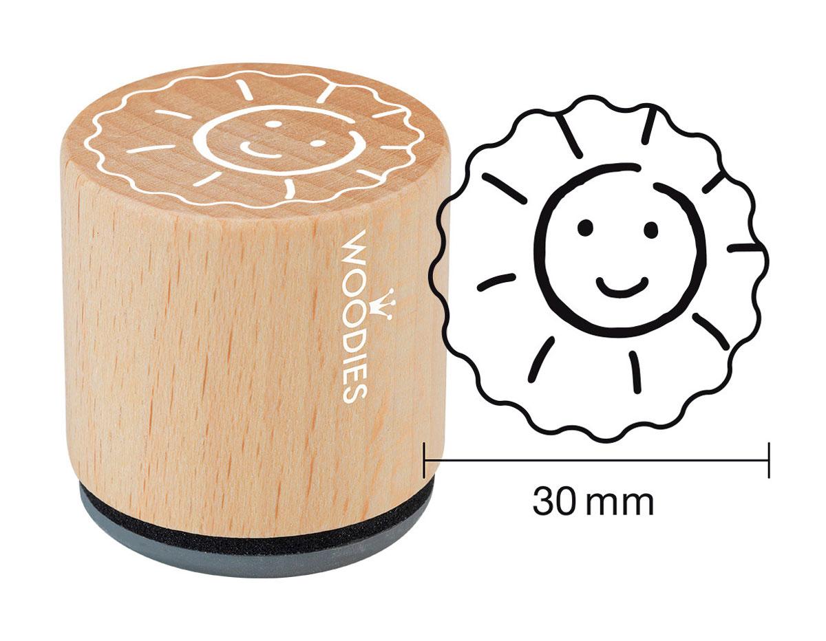 W27001 Sello de madera y caucho sol diam 33x30mm Woodies