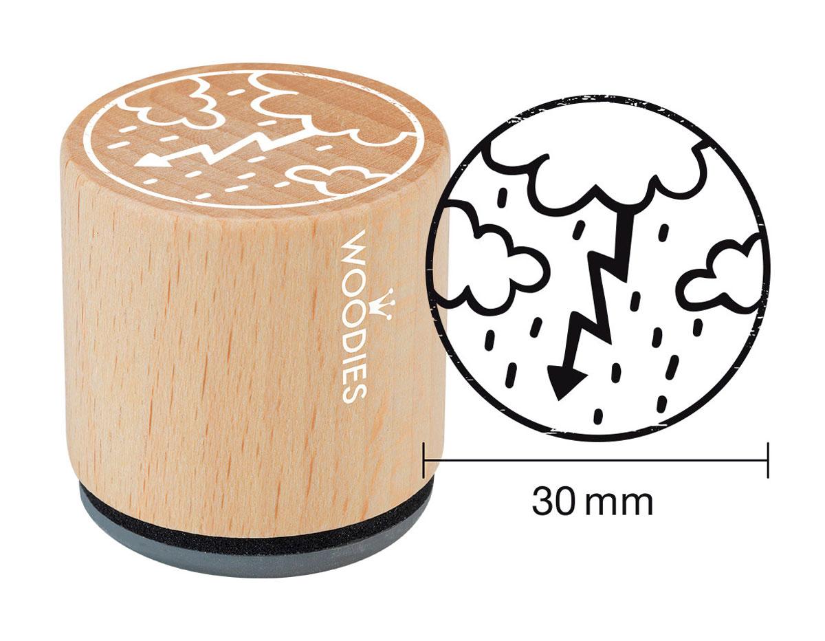 W27003 Sello de madera y caucho tormenta diam 33x30mm Woodies