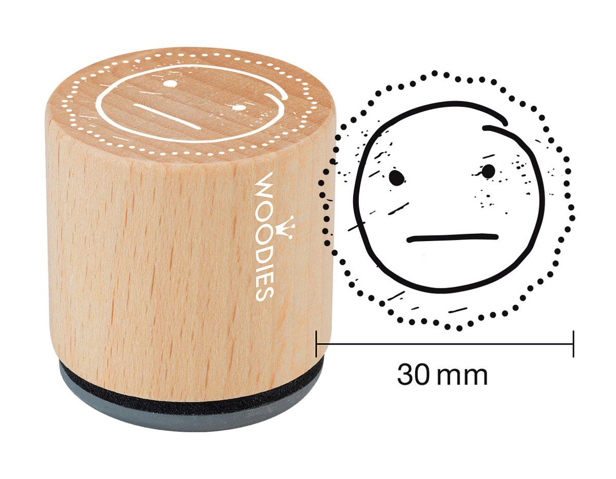 W27006 Sello de madera y caucho cara media diam 33x30mm Woodies