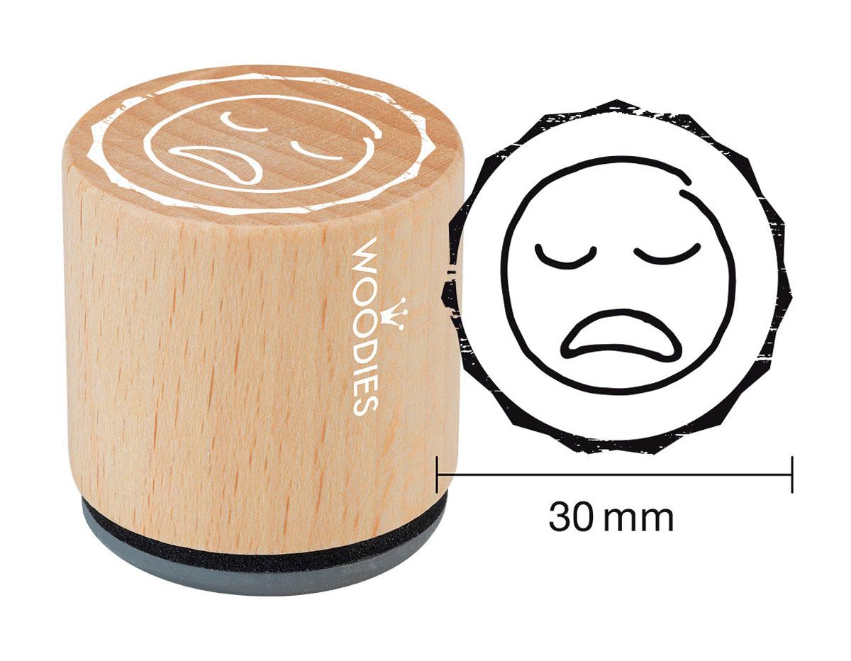 W27007 Sello de madera y caucho cara triste diam 33x30mm Woodies
