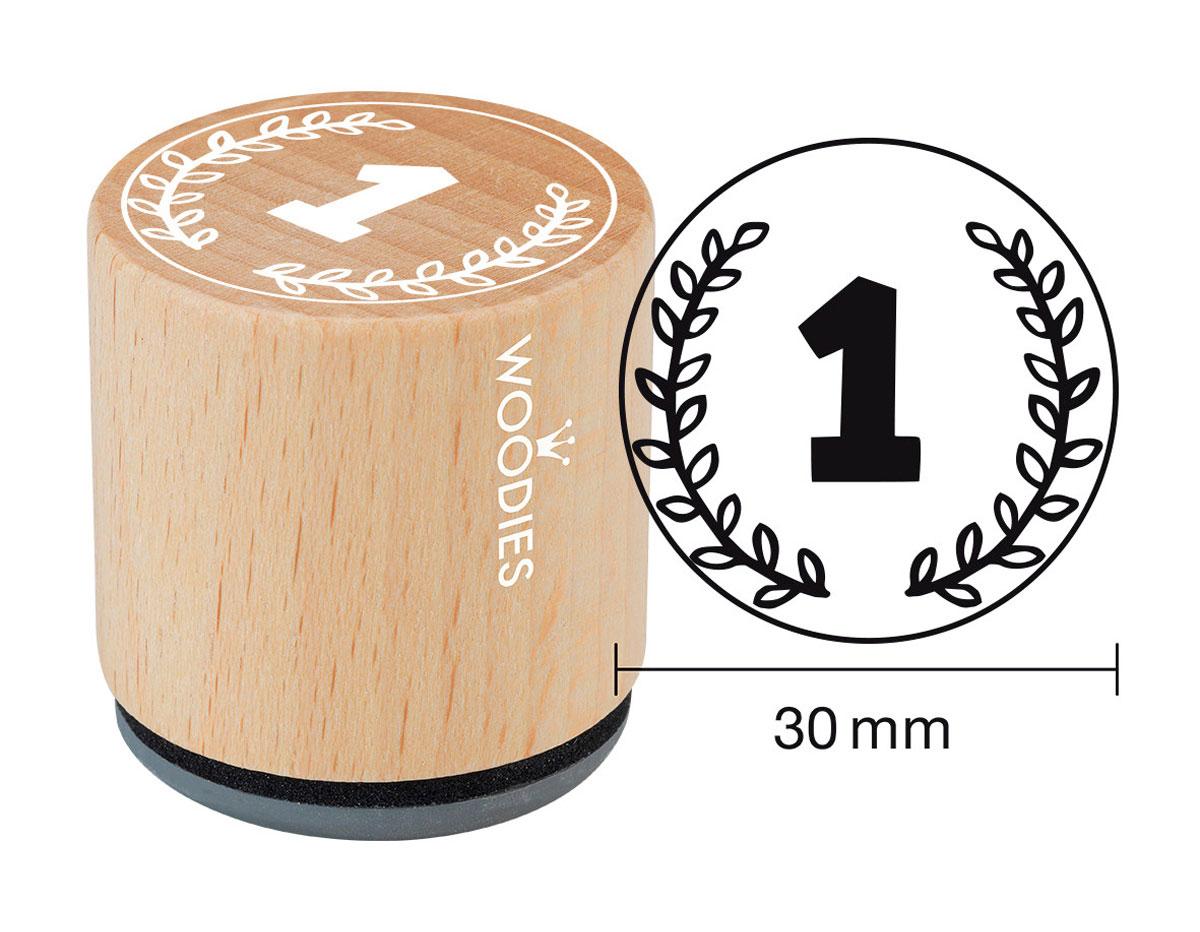 W27008 Sello de madera y caucho numero 1 diam 33x30mm Woodies