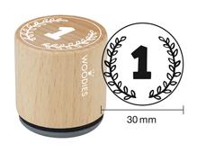 W27008 Sello de madera y caucho numero 1 diam 33x30mm Woodies - Ítem