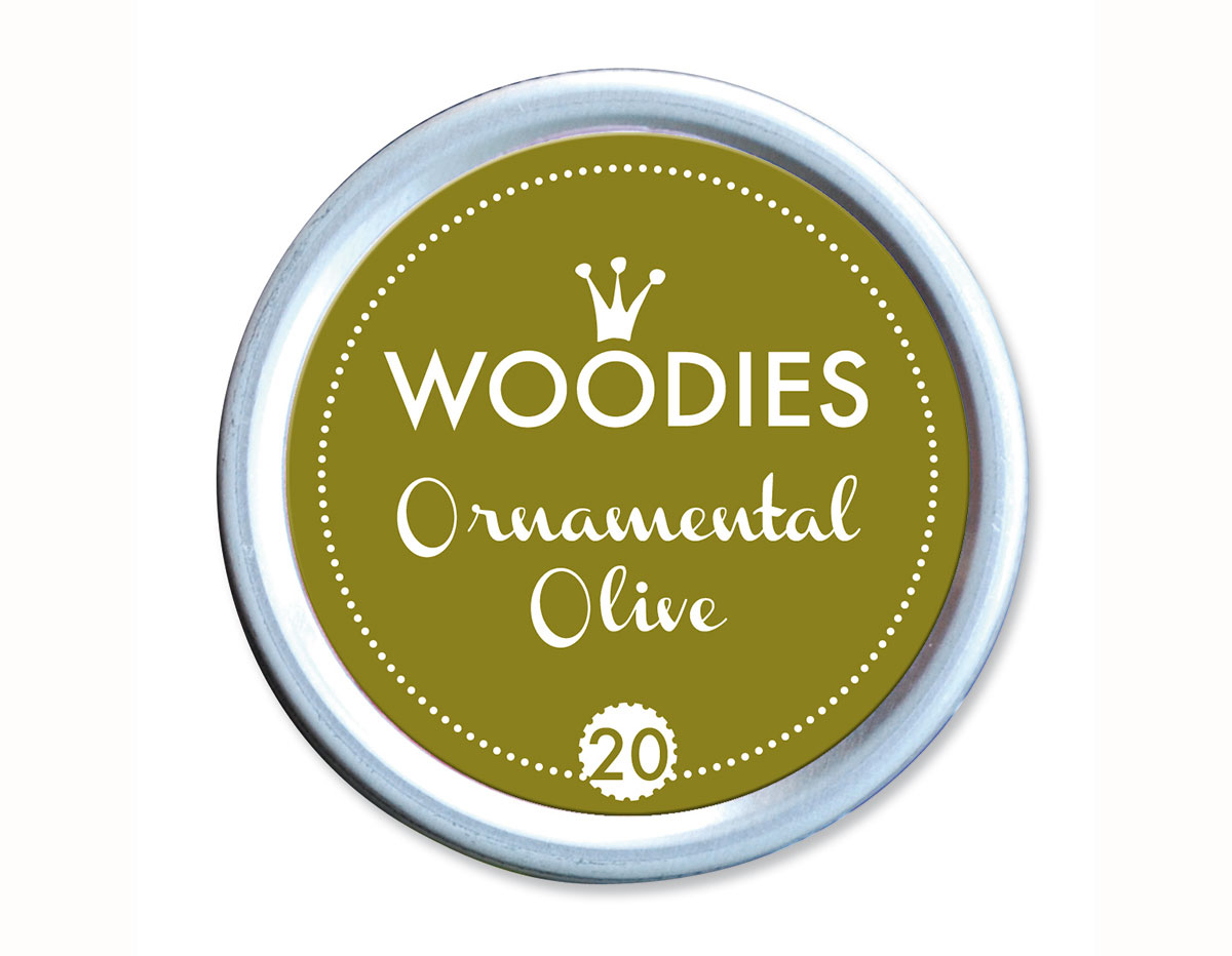 W99020 Almohadilla de tinta Ornamental Olive diam 38x22mm Woodies