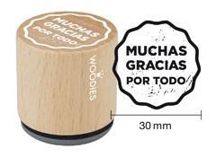 WB1004 Sello de madera y caucho Muchas Gracias Por Todo diam 33x30mm Woodies