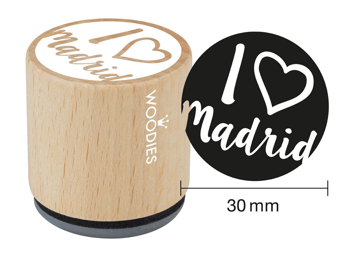 WB1101 Sello de madera y caucho I love Madrid corazon diam 33x30mm Woodies