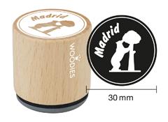 WB1102 Sello de madera y caucho Madrid el oso y el madrono diam 33x30mm Woodies