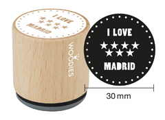 WB1105 Sello de madera y caucho I love Madrid estrellas diam 33x30mm Woodies