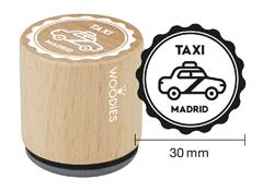 WB1106 Sello de madera y caucho Taxi Madrid diam 33x30mm Woodies