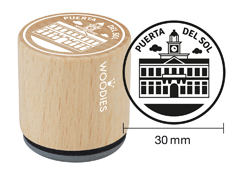WB1107 Sello de madera y caucho Puerta del Sol diam 33x30mm Woodies
