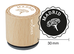 WB1108 Sello de madera y caucho Madrid claveles diam 33x30mm Woodies