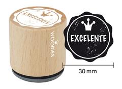 WB1302 Sello de madera y caucho Excelente diam 33x30mm Woodies