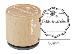 WB2001 Sello de madera y caucho Estas invitado diam 33x30mm Woodies