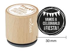 WB2002 Sello de madera y caucho Vamos a celebrarlo Fiesta diam 33x30mm Woodies