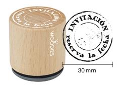 WB2003 Sello de madera y caucho Invitacion reserva la fecha diam 33x30mm Woodies