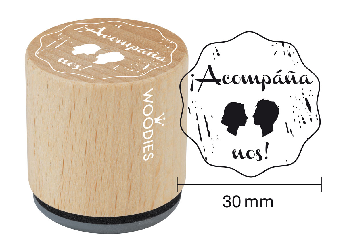 WB3004 Sello de madera y caucho Acompananos diam 33x30mm Woodies